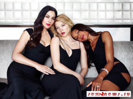 Три девушки Бонда: Дэниел Крейг, Моника Беллуччи, Леа Сейду и Наоми Харрис снялись в совместной фотосессии